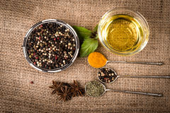 Spices, herds on a burlap Royalty Free Stock Photo