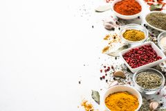 Spices In A Bowls On White. Royalty Free Stock Photos