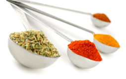 Spices In Measuring Spoons Stock Photo
