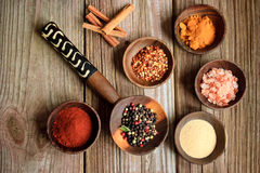 Spices In Wooden Bowls Royalty Free Stock Photo