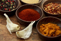 Spices In Wooden Bowls Stock Image