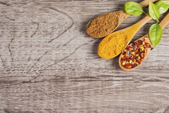 Free Spices In Wooden Spoons Stock Photography - 45459082