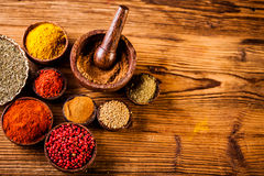 Spices in Indonesian wooden bowls Royalty Free Stock Images