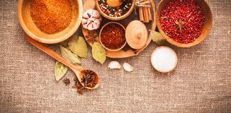 Spices and ingredients Royalty Free Stock Photography