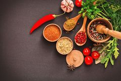 Spices and ingredients Stock Image