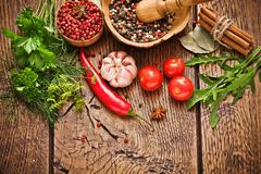 Spices and ingredients Stock Images