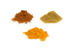 Spices Isolated On White Background. Food & Drinks - Spices - Cumin, turmeric and sweet paprika isolated on white background Stock Photography