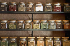 Spices in Jars. On store shelf display Royalty Free Stock Image