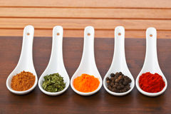 Spices jars Stock Photos