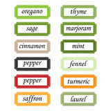 Spices labels Stock Photos