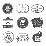 Spices labels black. Fresh premium spices hot black labels emblems and stamps set isolated vector illustration Stock Image