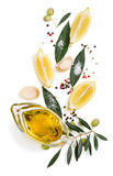 Spices and lemon, above view. royalty free stock photo