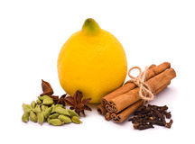 Spices and Lemon Stock Image