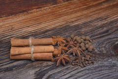 The Spices lying on a wooden surface. Spices lying on a wooden surface Stock Photography