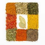 Spices macro decorated as frame Royalty Free Stock Image