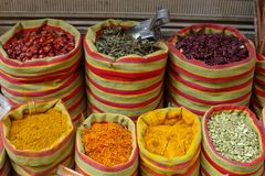 Spices on market. Fresh spices in canvas bags Stock Photo