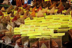 Spices at the market. Spices for pizza and pasta topping at the market in Rome -Italy Stock Images