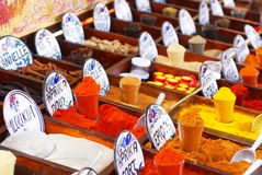 Spices in the market. Group of spices in the oriental market Royalty Free Stock Images
