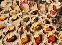 Spices in the market. In Tunisia royalty free stock photos