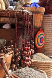 Spices in the market of Egypt. Bright and fragrant spices and herbs in wooden pots Stock Photos