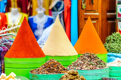 Spices on market in Marrakech - Morocco stock image