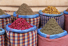 Spices at the market in the souk. Of Marrakesh, Morocco Royalty Free Stock Photos