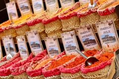 Spices market in Spain, Andalusia royalty free stock photos