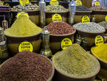 Spices at the Market. A variety of spices available at the Grand Bizarre in Istanbul, Turkey Royalty Free Stock Photography
