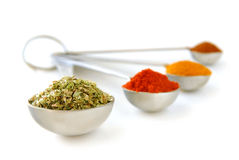 Spices in measuring spoons Royalty Free Stock Photo