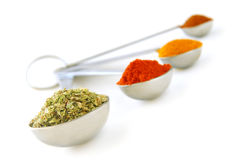 Spices in measuring spoons Stock Images