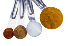 Spices in measuring spoons. Stock Photo