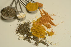Spices in Measuring spoons Stock Photos