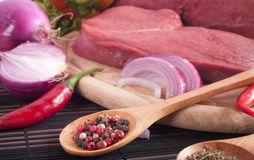 Spices and meat Royalty Free Stock Photo