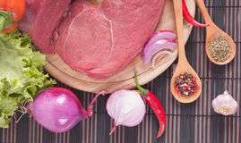 Spices and meat Stock Image