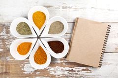 Spices with menu board Royalty Free Stock Photos