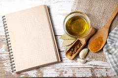 Spices with menu board Stock Photo