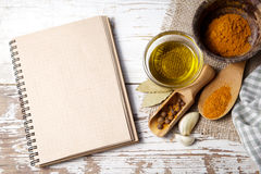 Spices with menu board Royalty Free Stock Photo