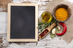 Spices with menu board Stock Images