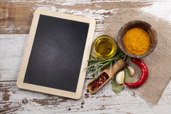Spices with menu board Royalty Free Stock Image