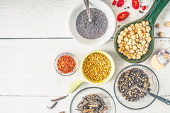 Spices of Middle East , Caucasian and Asian cuisine on the white table Stock Photo
