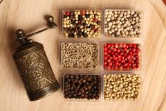Spices and Mill Royalty Free Stock Photos