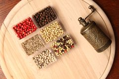 Spices and Mill Royalty Free Stock Photography