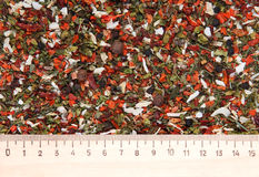 Spices mix background with ruler Stock Photos
