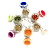 Spices mix in colorful jars Stock Photography