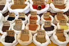 Spices mix, French farmers market royalty free stock photo
