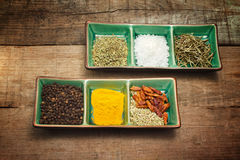 Mix of spices in exotic bowl Stock Photo