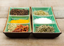Common spices over green exotic bowl Stock Images