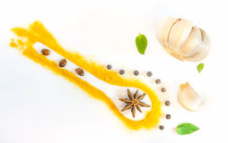The spices mix on white background. Stock Photo