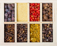 Spices mixture in wooden crate Royalty Free Stock Images