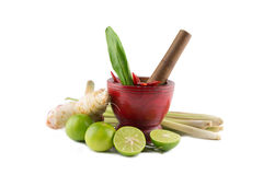 Spices  with Mortar and Pestle isolated on white background  Thai Spicy Foods Stock Photography